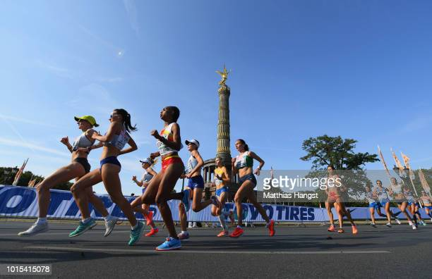 Athletes race past the Berlin Victory Column in the Women's Marathon final during day six of the 24th European Athletics Championships at...