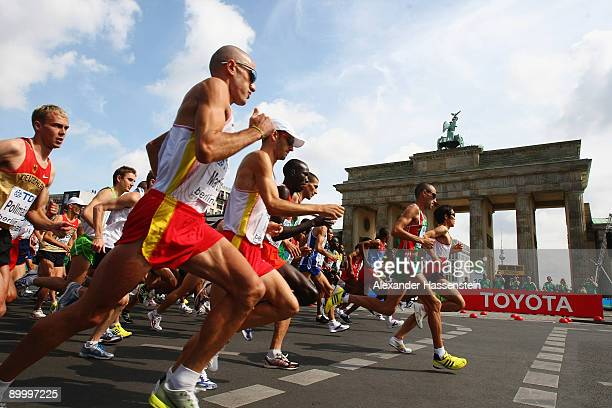 Athletes race past the Brandenburg Gate in the men's Marathon Final during day eight of the 12th IAAF World Athletics on August 22 2009 in Berlin...