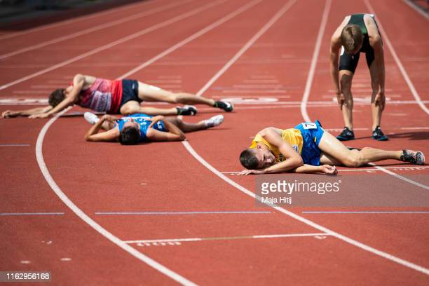 Athletes react after finishing 3000m Steeplechase Men Round 1 on July 19, 2019 in Boras, Sweden.