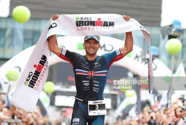 Athletes react after finishing KMD Ironman Copenhagen on August 19 2018 in Copenhagen Denmark