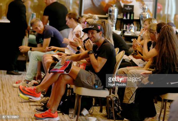 Athletes react during a pro athlete conference for IRONMAN 703 Middle East Championship Bahrain at the Four Seasons Hotel on November 23 2017 in...
