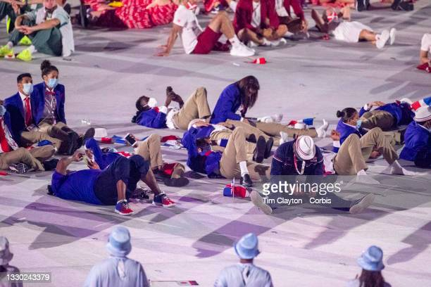 Athletes relax at the Opening Ceremony for the Tokyo 2020 Summer Olympic Games at the Olympic Stadium on July 23, 2021 in Tokyo, Japan.
