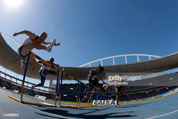 Athletes run during 110mt with steeplechase at the GP Brazil Caixa 2012 at Engenhao stadium on May 20, 2012 in Rio de Janeiro, Brazil.