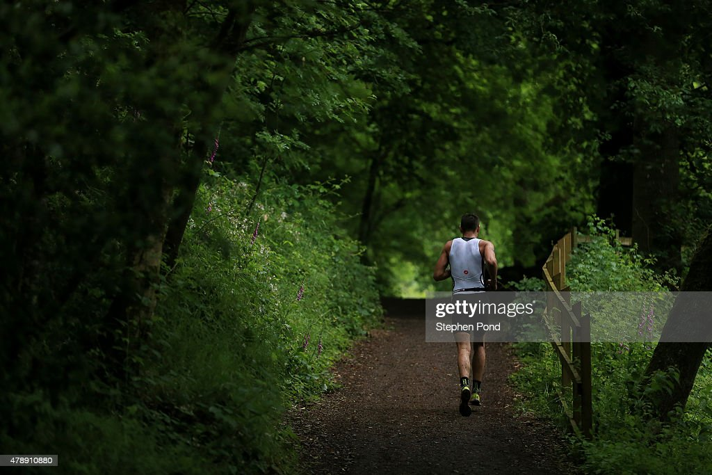 Athletes run during the Ironman 70.3 Exmoor event on June 28, 2015 in Exmoor National Park, England.