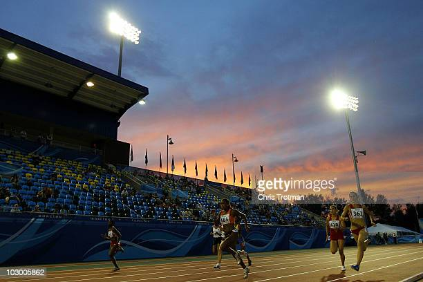 Athletes run in the 100 Metres Womens qualification heat 6 on day two of the 13th IAAF World Junior Athletics Championships at the Stade Moncton 2010...