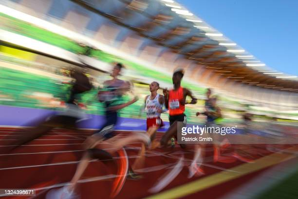 Athletes run in the Men's 10000 Meter final during day one of the 2020 U.S. Olympic Track & Field Team Trials at Hayward Field on June 18, 2021 in...