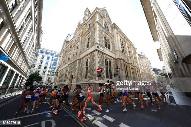 Athletes run through Guildhall during the Women's Marathon on day three of the 16th IAAF World Athletics Championships London 2017 on August 6 2017...