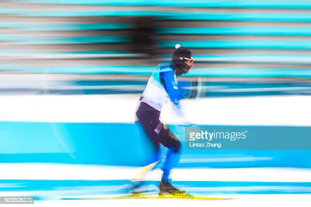 Athletes ski during a training session ahead of the PyeongChang 2018 Paralympic Games at Alpensia Olympic Park on March 9 2018 in Pyeongchanggun...