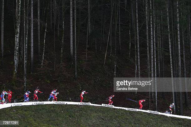Athletes ski during the men's 4x7.5 km relay in the Biathlon World Cup on January 11, 2007 in Ruhpolding, Germany.