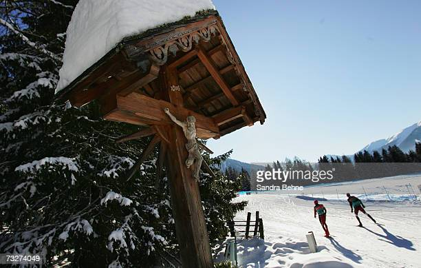 Athletes ski during the training session in the Biathlon World Championships on February 9 2007 in Anterselva Italy