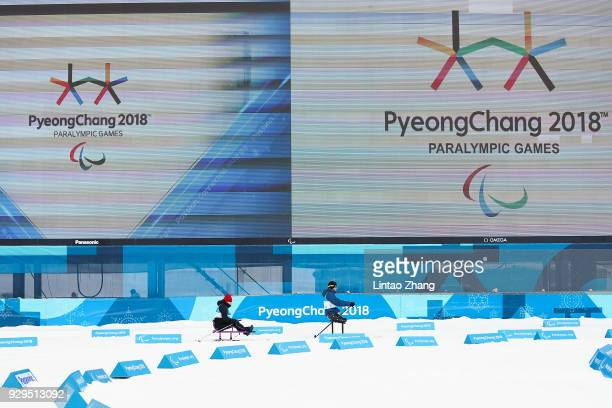 Athletes ski during training session ahead of the PyeongChang 2018 Paralympic Games at Alpensia Olympic Park on March 8 2018 in Pyeongchanggun South...