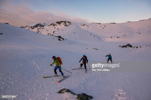 Athletes skiing at The Arctic Triple Lofoten Skimo on March 10 2018 in Svolvaer Norway Lofoten Skimo is one of three races organized under The Arctic...