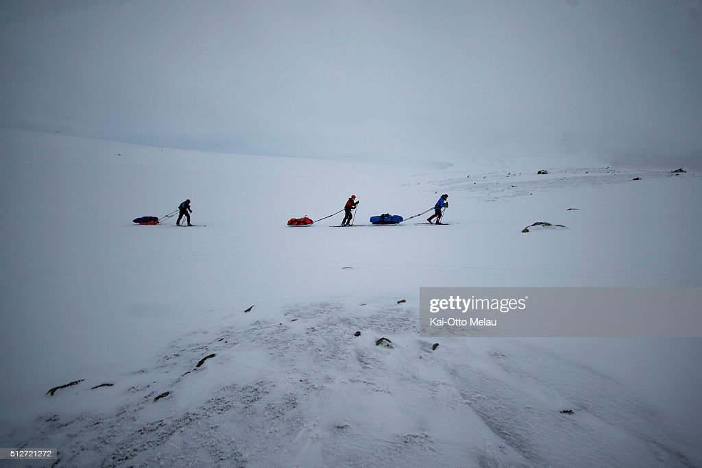 Athletes skiing during Expedition Amundsen on February 27, 2016 in Eidfjord, Norway. Expedition Amundsen is called the world`s hardest skirace. 40km across the Hardangervidda, 40kg in the sled and 100km. The race follows the path of the explorer Roald Amundsen.