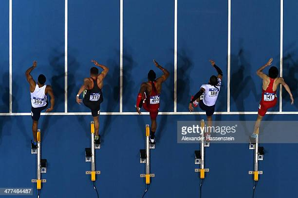 Athletes start at the Men's 60m semi finale on day three of the IAAF World Indoor Championships at Ergo Arena on March 9 2014 in Sopot Poland