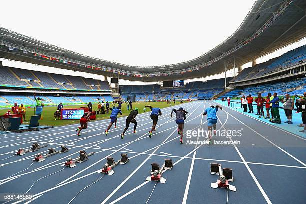 Athletes start during a training session at Olympic Stadium on August 10 2016 in Rio de Janeiro Brazil
