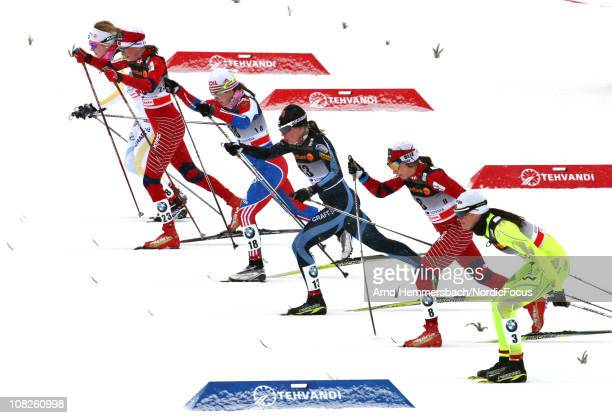 Athletes start during the quarter final in the women's individual sprint Cross Country Skiing during the FIS World Cup on January 23 2011 in Otepaeae...
