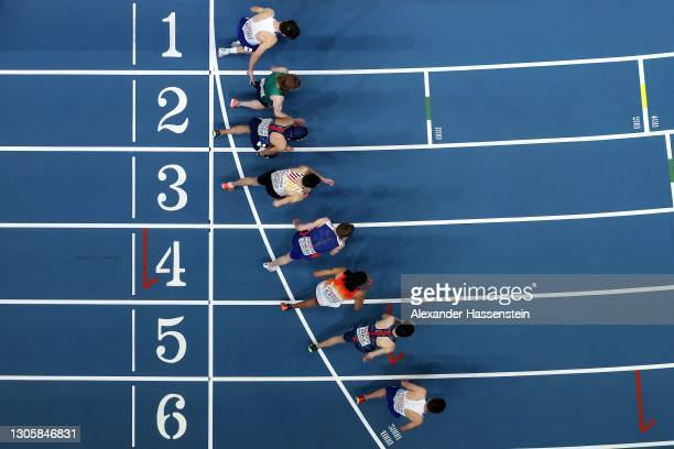 Athletes start for the Men's 3000 Metres final during the second session on Day 3 of the European Athletics Indoor Championships at Arena Torun on...