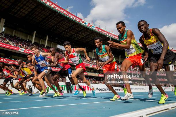 Athletes start in the boys 3000m during day 5 of the IAAF U18 World Championships at Moi International Sports Centre Kasarani Arena on July 16 2017...