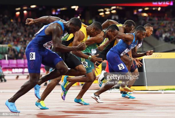 Athletes start in the mens 100m final during day two of the 16th IAAF World Athletics Championships London 2017 at The London Stadium on August 5...