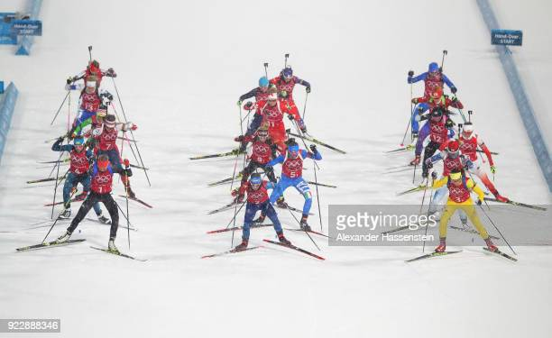 Athletes start in the Women's 4x6km Relay on day 13 of the PyeongChang 2018 Winter Olympic Games at Alpensia Biathlon Centre on February 22, 2018 in...