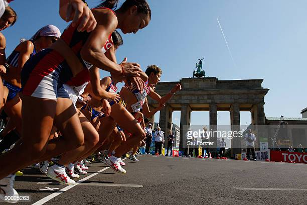 Athletes start next to the Brandenburg Gate as they compete in the women's Marathon Final during day nine of the 12th IAAF World Athletics...