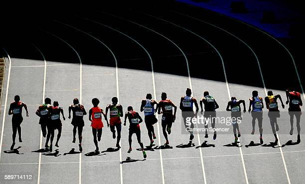 Athletes start round one of the Men's 3000m Steeplechase on Day 10 of the Rio 2016 Olympic Games at the Olympic Stadium on August 15 2016 in Rio de...