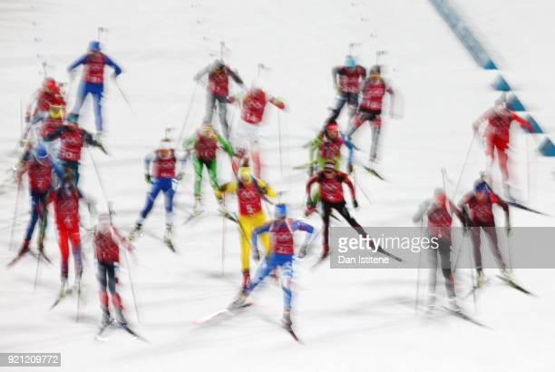 Athletes start the Biathlon 2x6km Women 2x75km Men Mixed Relay on day 11 of the PyeongChang 2018 Winter Olympic Games at Alpensia Biathlon Centre on...