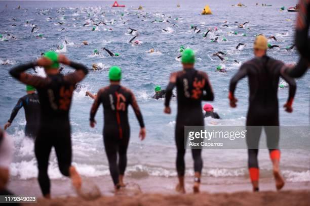 Athletes start the swim section of IRONMAN Barcelona on October 06, 2019 in Barcelona, Spain.