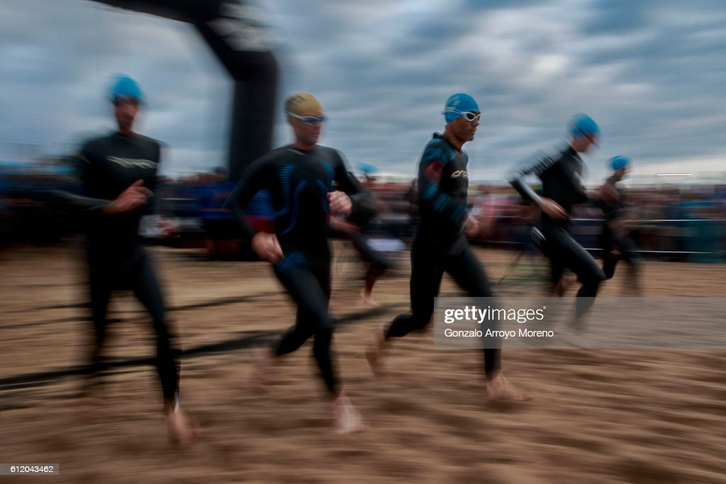 Athletes start the swimming course during the age groups of the Ironman Barcelona on October 2, 2016 in Calella, Spain.