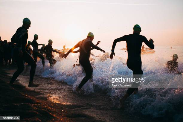 Athletes start the swimming course of the IRONMAN Barcelona on September 30 2017 in Calella Barcelona province Spain