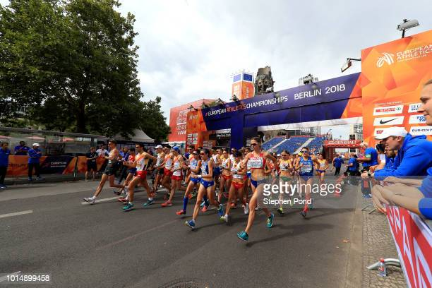 Athletes start the Women's 20km Race Walk during day five of the 24th European Athletics Championships on August 11 2018 in Berlin Germany This event...