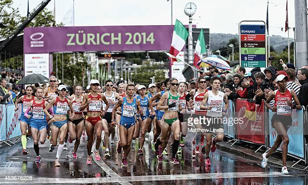 Athletes start the Womens Marathon at Stadium Letzigrund on August 16 2014 in Zurich Switzerland