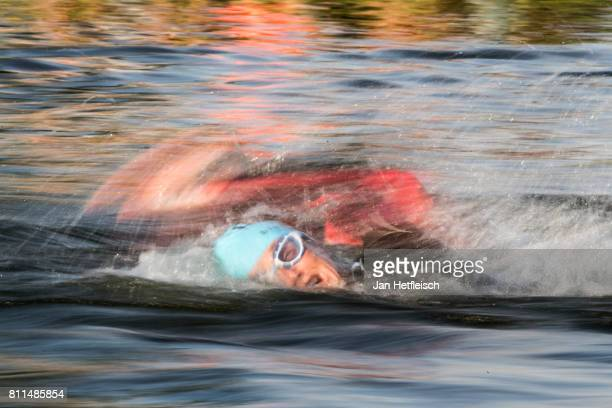Athletes swim in the MainDonauKanal during the DATEV Challenge Roth 2017 on July 9 2017 in Roth Germany