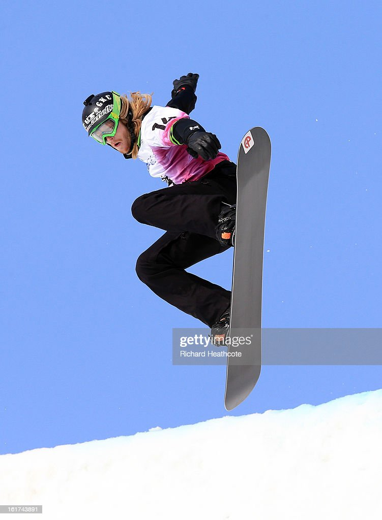 Athletes take part in a training session on the Snowboard Cross track at the Rosa Khutor Extreme Park in Krasnya Polyana on February 15, 2013 in Sochi, Russia. Sochi is preparing for the 2014 Winter Olympics with test events across the venues.