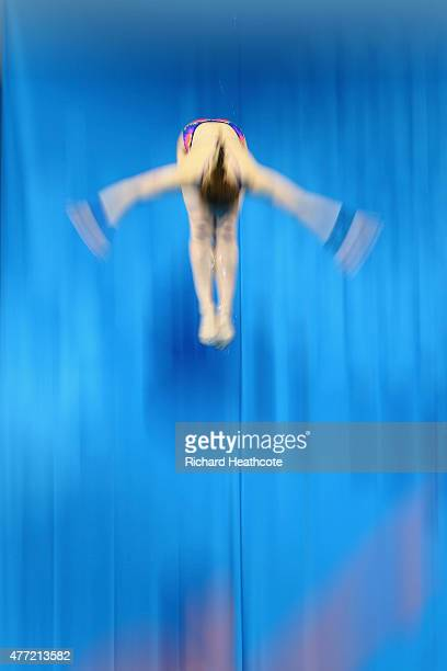 Athletes take part in general diving training during day three of the Baku 2015 European Games at Baku Aquatics Centre on June 15 2015 in Baku...