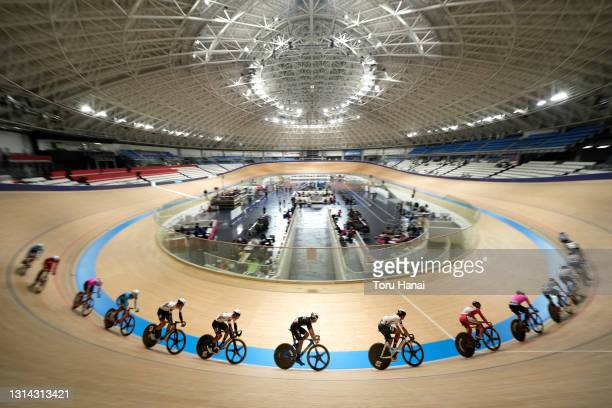 Athletes take part in the Cycling Olympic Test Event at the Izu Velodrome on April 25, 2021 in Izu, Shizuoka, Japan.