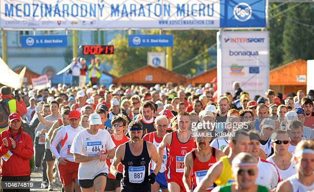 Athletes take part in the Peace Marathon in Kosice on October 3 2010 Gilbert Kiptoo Chepkwony of Kenya won the oldest marathon in Europe with a race...