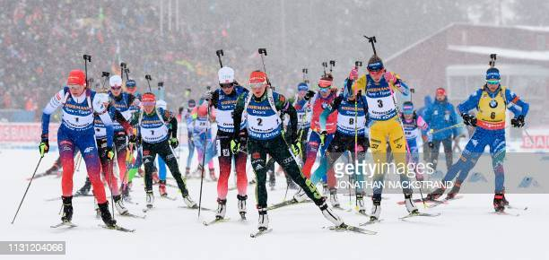 Athletes take the start to the women's 12,5 km mass start event at the IBU World Biathlon Championships in Oestersund, Sweden, on March 17, 2019.