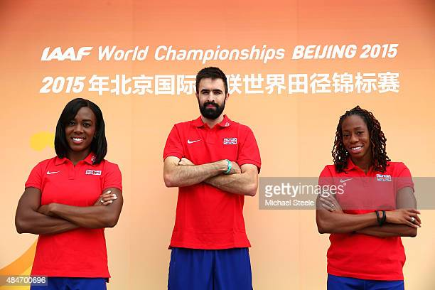 Athletes Tiffany Porter team captain Martyn Rooney and Shara Proctor attend a Great Britain team press conference ahead of the 15th IAAF World...