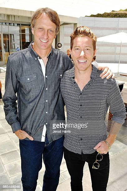 Athletes Tony Hawk and Shaun White attend the WORLDZ Conference at Skirball Cultural Center on August 2 2016 in Los Angeles California