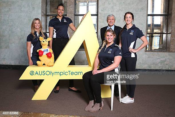 Athletes Torah Bright Liz Cambage Holly LincolnSmith and Alicia Quirk pose with Kerry Stokes Chairman of Seven West Media during the Two Years To Go...