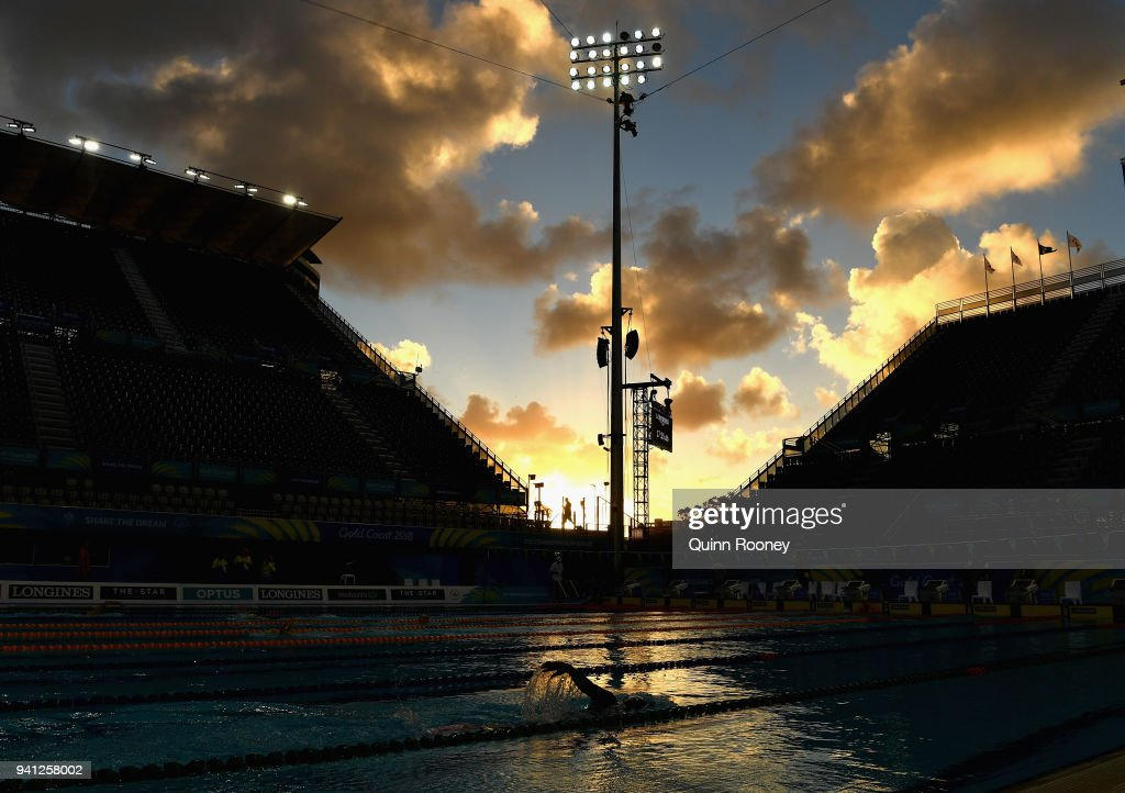 Athletes train at the Optus Aquatic Centre ahead of the 2018 Commonwealth Games on April 3, 2018 in Gold Coast, Australia.