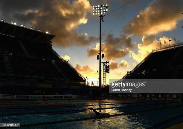 Athletes train at the Optus Aquatic Centre ahead of the 2018 Commonwealth Games on April 3 2018 in Gold Coast Australia
