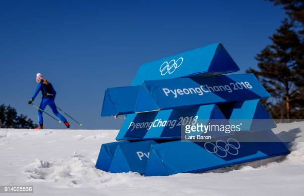 Athletes train during previews ahead of the PyeongChang 2018 Winter Olympic Games at Alpensia Cross Country Centre on February 4 2018 in...