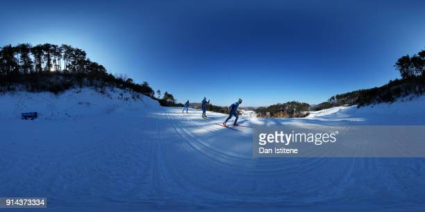 Athletes train during previews ahead of the PyeongChang 2018 Winter Olympic Games at the Alpensia Cross Country Centre on February 4 2018 in...