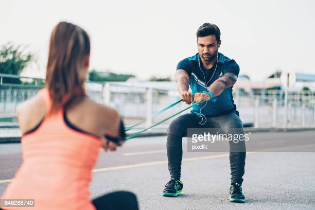 Athletes training outdoors