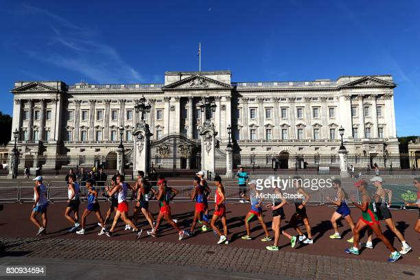 Athletes walk in front of Buckingham Palace in the Men's 50km Race Walk final during day ten of the 16th IAAF World Athletics Championships London...