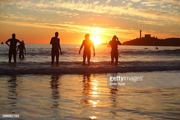 Athletes warm up ahead of the Ironman 70.3 World Championship on September 4, 2016 in Sunshine Coast, Australia.