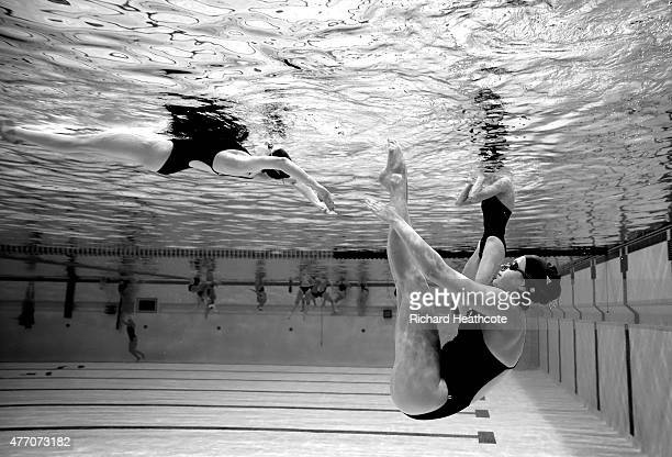 Athletes warm up before the Figures Synchronised Swimming during day two of the Baku 2015 European Games at Baku Aquatics Centre on June 14 2015 in...
