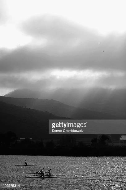 Athletes warm up during the Rowing Finals during Day Four of the XVI Pan American Games at the Rowing Course on October 18, 2011 in Guadalajara,...